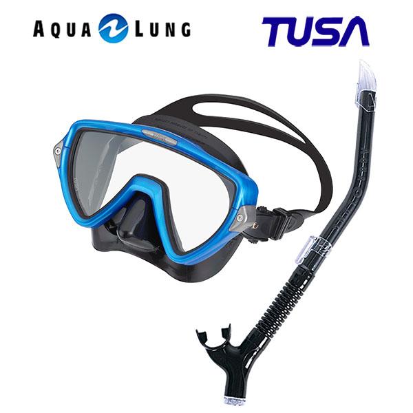 TUSA ツサ 軽器材2点セットヴィジオウノ マスク ブラックシリコン M-19QBアクアラング マイスター スノーケルスキューバダイビング シュノーケリング