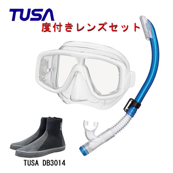 TUSA ツサ 度付きレンズ軽器材3点セットプラチナ マスク M-20US-TUSA ハイパードライエリート2 スノーケルTUSA ロングブーツスキューバダイビング シュノーケリング