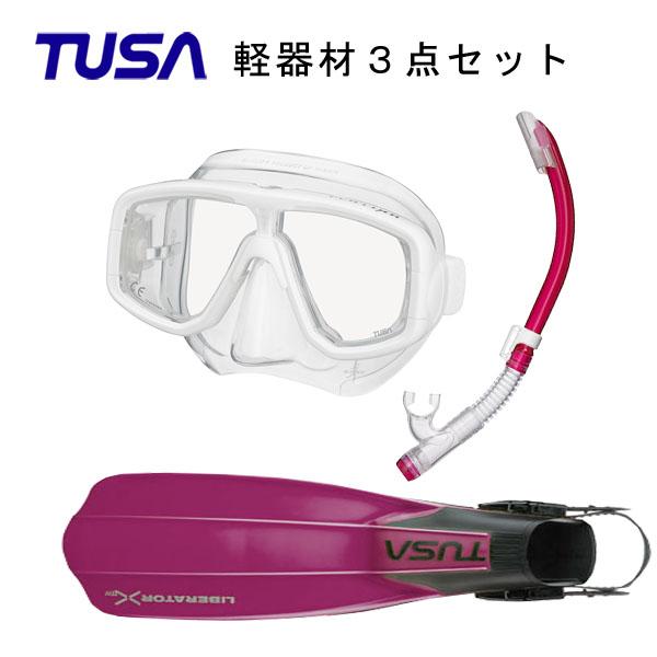 TUSA(ツサ) 軽器材3点セットプラチナマスク M-20US-TUSA ハイパードライエリートII スノーケル SP0101リブレーターテン フィン SF-5000 SF-5500スキューバダイビング・シュノーケリング