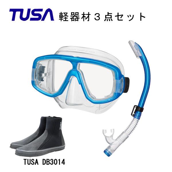 TUSA ツサ 軽器材3点セットプラチナ マスク M-20US-TUSA プラチナ2 スノーケルTUSA ロングブーツスキューバダイビング シュノーケリング