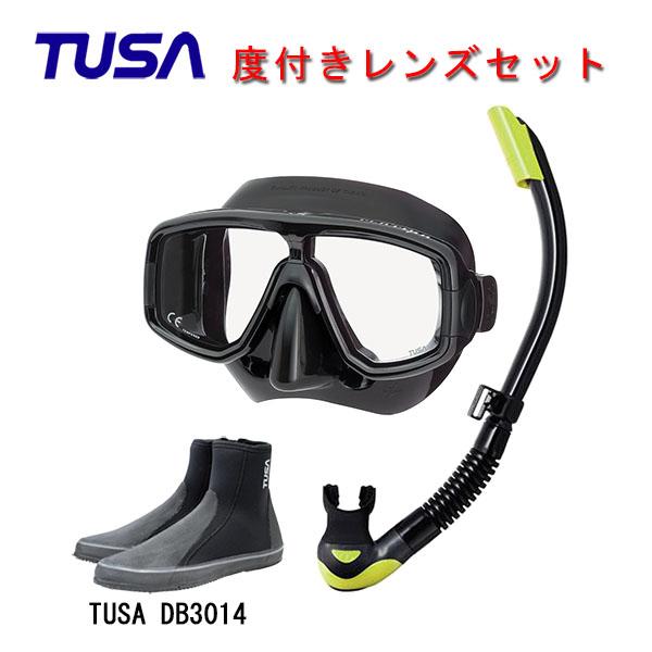 TUSA ツサ 度付きレンズ軽器材3点セットプラチナ マスク ブラックシリコン M-20QBUS-TUSA プラチナ2 スノーケル スノーケルTUSA ロングブーツスキューバダイビング シュノーケリング
