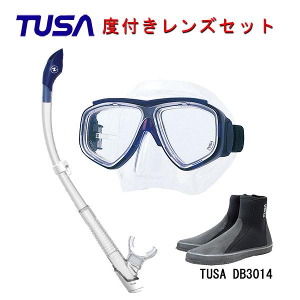 TUSA(ツサ) 度付きレンズ軽器材3点セットスプレンダイブ2 M-7500AQUALUNG アクアラング ヴァリオスノーケルTUSA ロングブーツスキューバダイビング・シュノーケリング