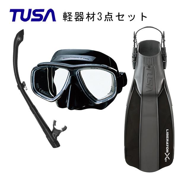 TUSA(ツサ) 軽器材3点セットスプレンダイブ2ブラックシリコン M-7500QBAQUALUNG アクアラング ヴァリオスノーケルリブレーターテン フィン SF-5000 SF-5500スキューバダイビング・シュノーケリング
