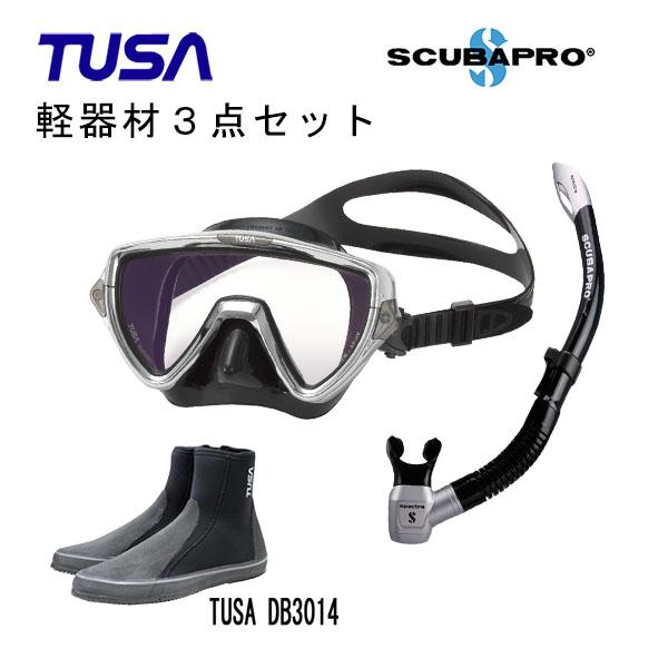 TUSA ツサ 軽器材3点セットヴィジオプロ マスク M-19SQBスキューバプロ スペクトラスノーケルロングブーツスキューバダイビング シュノーケリング