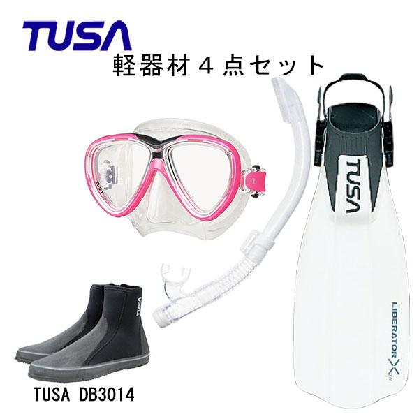 感謝価格 フィット感抜群のマスクや軽いキックで安定の推進力のフィンなど人気の商品を集めた4点セット ダイビング 本日限定 スノーケリング マリンレジャー マリンスポーツ TUSA ツサ シュノーケリング M-211US-TUSA フィンロングブーツスキューバダイビング SP0101リブレーターテン 軽器材4点セットフリーダムワンマスク ハイパードライエリート2スノーケル