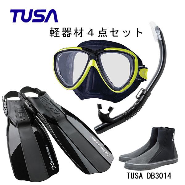 フィット感抜群のマスクや初心者の方にも使いやすいフィンなど使い勝手の良いアイテム4点セット ダイビング スノーケリング マリンレジャー ビーチ TUSA ツサ アイテム勢ぞろい ブラックシリコン 至上 スノーケルリブレーターテン M-211QBUS-TUSA フィンロングブーツスキューバダイビング 軽器材4点セットフリーダムワンマスク ハイパードライエリート2 シュノーケリング