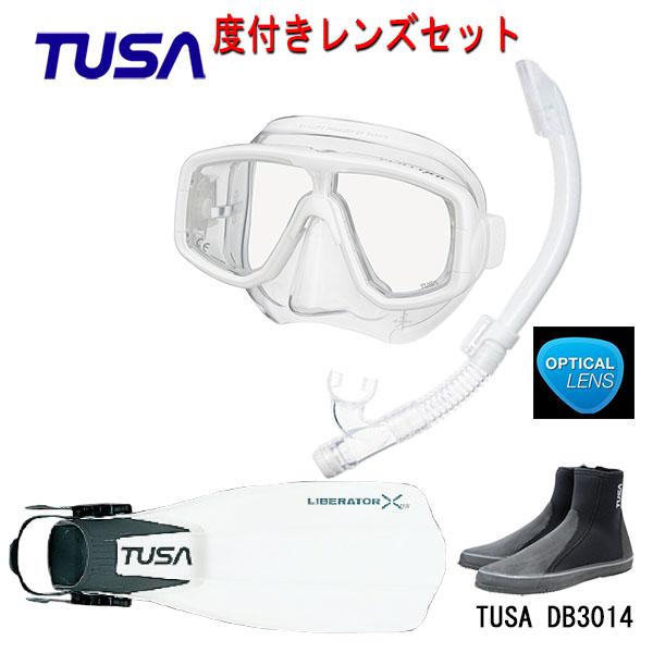 TUSA(ツサ) 度付きレンズ軽器材4点セットプラチナマスク M-20US-TUSA ハイパードライエリート2スノーケル SP0101リブレーターテン フィンロングブーツスキューバダイビング・シュノーケリング