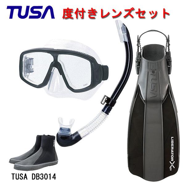 TUSA(ツサ) 度付きレンズ軽器材4点セットプラチナマスク M-20US-TUSA プラチナ2 スノーケル SP0101リブレーターテン フィンロングブーツスキューバダイビング・シュノーケリング