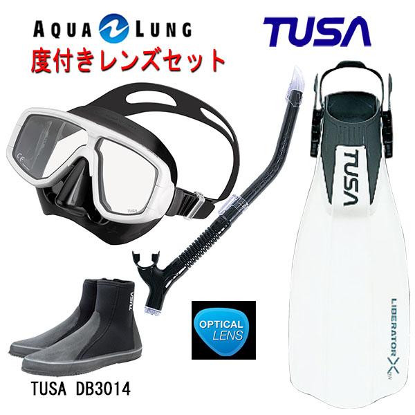 TUSA(ツサ) 度付きレンズ軽器材4点セットプラチナマスク M-20QBアクアラング マイスタースノーケルリブレーターテン フィンロングブーツスキューバダイビング・シュノーケリング