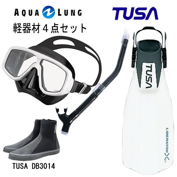 TUSA(ツサ) 軽器材4点セットプラチナマスク M-20QBアクアラング マイスタースノーケルリブレーターテン フィンロングブーツスキューバダイビング・シュノーケリング
