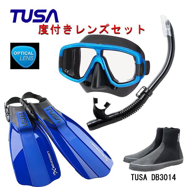 TUSA(ツサ) 度付きレンズ軽器材4点セットプラチナマスク M-20QBUS-TUSA ハイパードライエリート2 スノーケルリブレーターテン フィンロングブーツスキューバダイビング・シュノーケリング