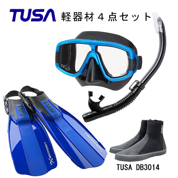 TUSA(ツサ) 軽器材4点セットプラチナマスク M-20QBUS-TUSA ハイパードライエリート2 スノーケルリブレーターテン フィンロングブーツスキューバダイビング・シュノーケリング