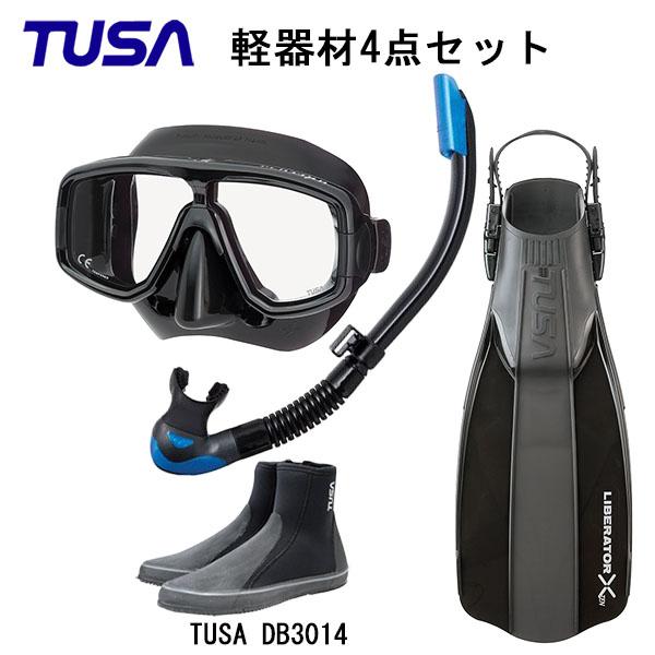 TUSA(ツサ) 軽器材4点セットブラックシリコン M-20QBUS-TUSA プラチナ2 スノーケル スノーケル SP0101リブレーターテン フィンロングブーツスキューバダイビング・シュノーケリング