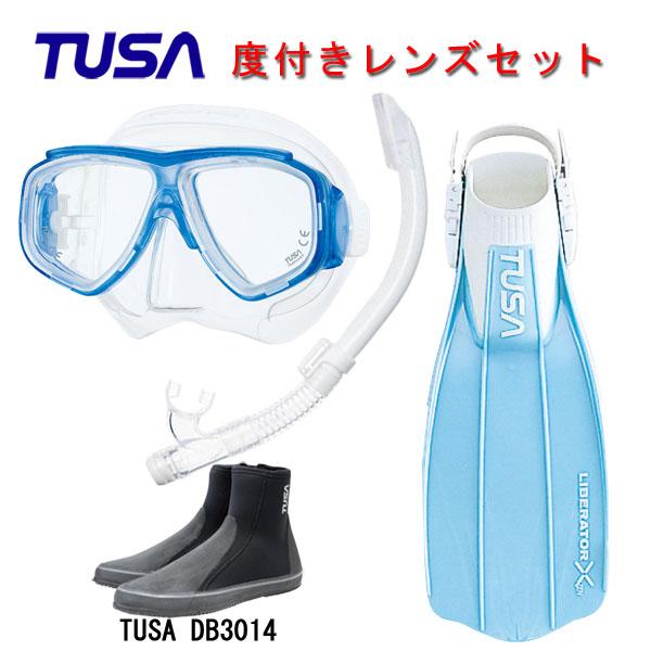 TUSA(ツサ) 度付きレンズ軽器材4点セットスプレンダイブ2 M-7500US-TUSA ハイパードライエリート2 スノーケルリブレーターテンロングブーツスキューバダイビング・シュノーケリング