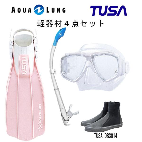 TUSA(ツサ) 軽器材4点セットスプレンダイブ2 M-7500AQUALUNG アクアラング ヴァリオスノーケルリブレーターテン フィンロングブーツスキューバダイビング・シュノーケリング