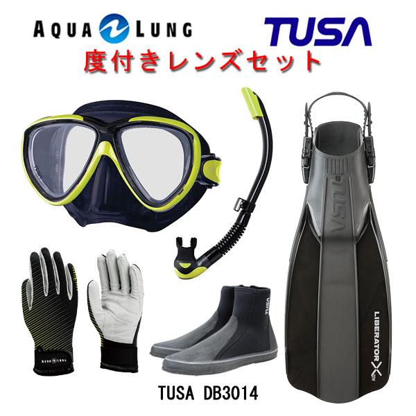 TUSA(ツサ) 度付きレンズ軽器材5点セットプラチナマスク ブラックシリコン M-20QBUS-TUSA プラチナ2 スノーケル SP0101リブレーターテン フィンロングブーツアクアラング マリングローブ