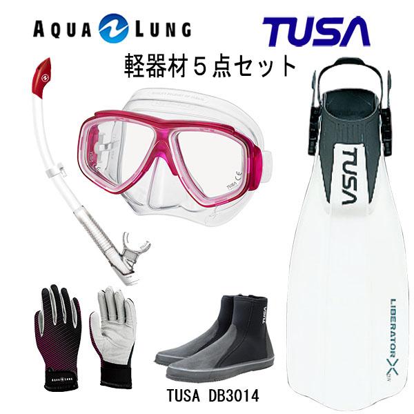 TUSA(ツサ) 軽器材5点セットスプレンダイブ2 M-7500AQUALUNG アクアラング ヴァリオスノーケルリブレーターテン フィンロングブーツアクアラング マリングローブ