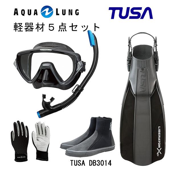 日本人男性向けのこだわりマスクや使い勝手の良いグローブ ブーツなどの人気の5点セットです ダイビング スノーケリング マリンレジャー マリンスポーツ TUSA ツサ まとめ買い特価 M-19QBUS-TUSA マリングローブ ブラックシリコン フィンロングブーツアクアラング 激安特価品 ハイパードライエリート2 軽器材5点セットヴィジオウノ マスク スノーケルリブレーターテン