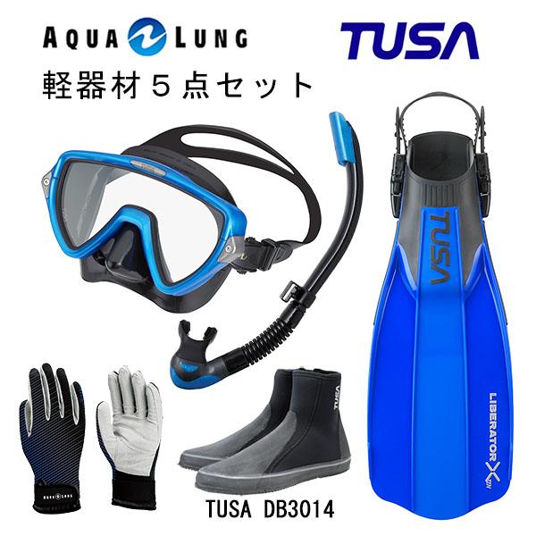 TUSA ツサ 軽器材5点セットヴィジオウノ マスク ブラックシリコン M-19QBUS-TUSA プラチナ2 スノーケルリブレーターテン フィンロングブーツアクアラング マリングローブ
