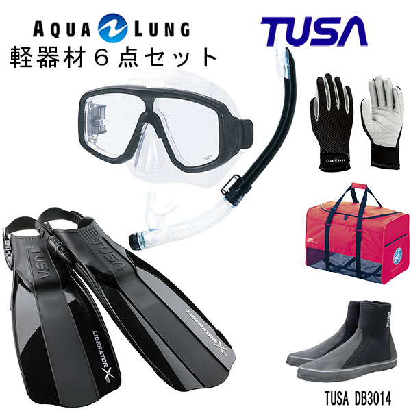 軽量 コンパクトなマスクなどシンプルで使いやすいを集めた便利な6点セット 人気ショップが最安値挑戦 ダイビング スノーケリング マリンレジャー 男女兼用 TUSA マリングローブメッシュバッグ ハイパードライエリート2スノーケル M-20US-TUSA SP0101リブレーターテン フィンロングブーツアクアラング 人気ブランド ツサ 軽器材6点セットプラチナマスク