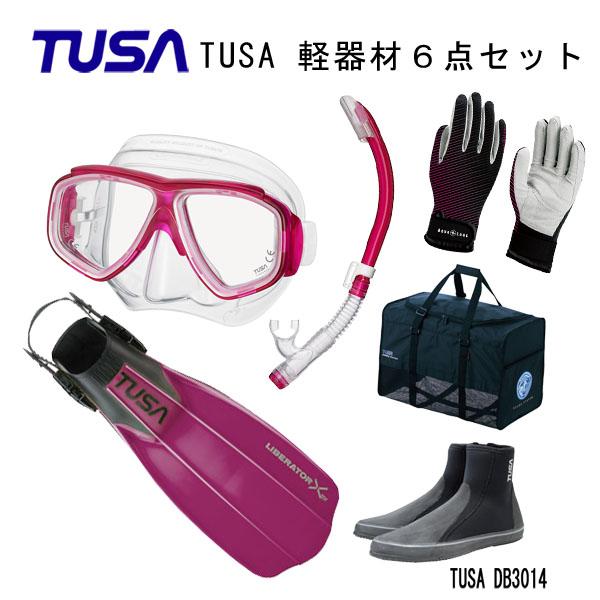 限定モデル スッキリとしたデザインで使い勝手の良いものばかりを集めたおススメの6点セット ダイビング 限定モデル スノーケリング マリンレジャー 男女兼用 TUSA ツサ 軽器材6点セットスプレンダイブ2 スノーケルリブレーターテンロングブーツマリングローブメッシュバッグ M-7500US-TUSA ハイパードライエリート2