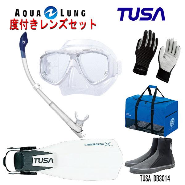 TUSA(ツサ) 度付きレンズ軽器材6点セットスプレンダイブ2 M-7500AQUALUNG アクアラング ヴァリオスノーケルリブレーターテン フィンロングブーツアクアラング マリングローブメッシュバッグ