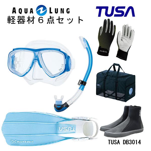 TUSA(ツサ) 軽器材6点セットスプレンダイブ2 M-7500US-TUSA プラチナ2 スノーケルリブレーターテンロングブーツマリングローブメッシュバッグ
