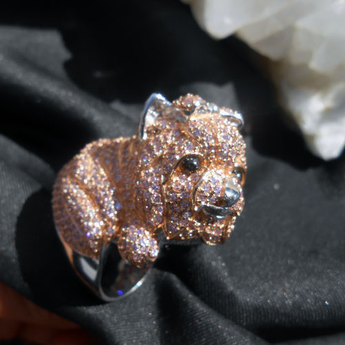 ヨーキーの子犬指輪ヨークシャテリア ピュアスターリングシルバー(ロジウム加工)ジルコニア(キュービックジルコン)ステートメントリング!