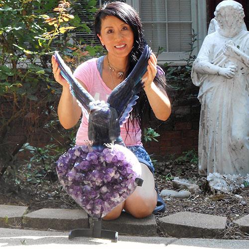 格安販売の レインボーフローライトイーグルon大型アメジストハートクラスターK.Angel(プロフェッショナル仕様)巨大なアメジストハートの上に降臨したフローライトの鷲の象【ホールセール価格】, シモタカイグン:20f1d702 --- business.personalco5.dominiotemporario.com