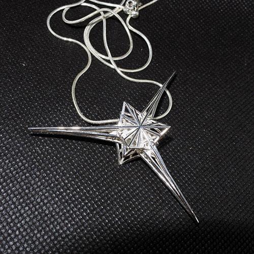 エンジェルスター スターリングシルバーネックレス フランス製特別限定品 3D大天使