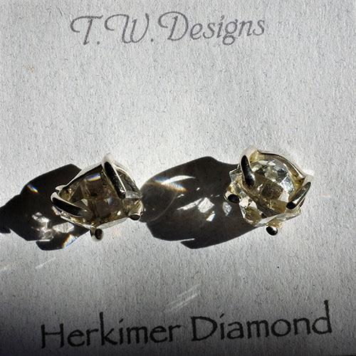 ピアス、スターリングシルバー ハーキマーダイヤモンド水晶原石 AAA宝石グレード 光のバブル、光のしずく