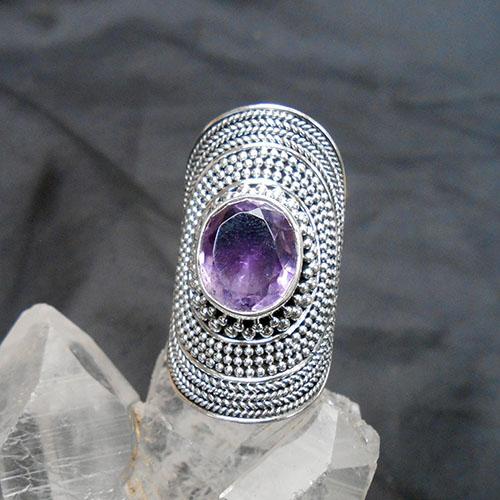 アメジストエジプシャンスタイル豪華なスターリングシルバーリングK.Angel'sファセットカットの大粒宝石輝く指輪12.5号