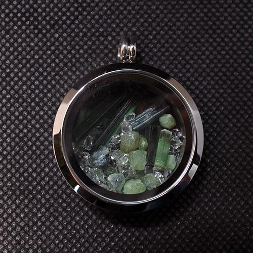 トルマリン グリーントルマリン ハーキマーダイヤモンド原石 ペリドット プレナイト びっしりペンダント ネックレストップ