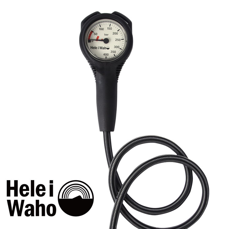 シングルゲージ 残圧計 フレックスホース 80cm Hele i waho / ヘレイワホ ダイビング 重器材