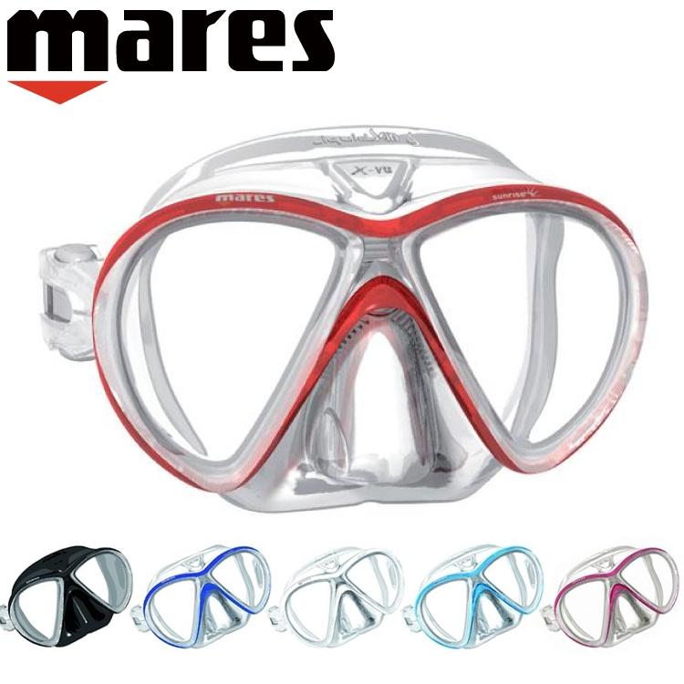ダイビング マスク mares マレス エクッスビュー リキッドスキン サンライズ軽器材