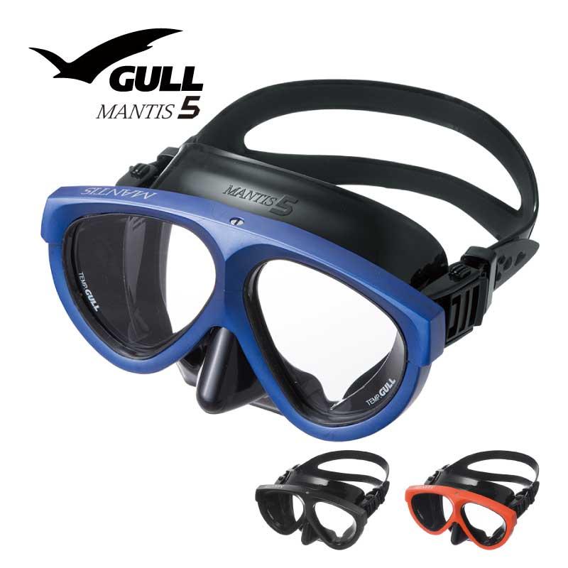 ダイビングマスク GULL/ガル マンティス5 ブラック シリコン ダイビング 軽器材 水中メガネ 二眼