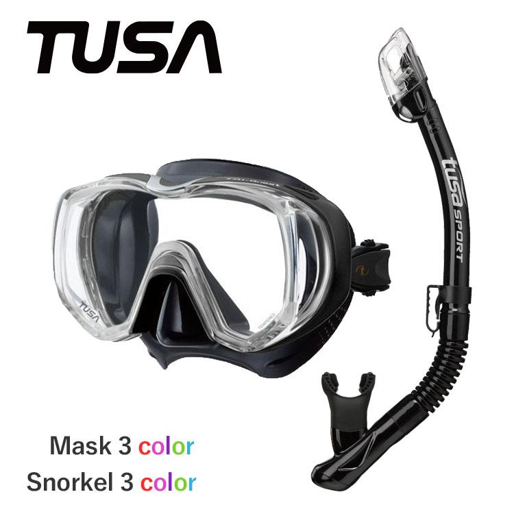 TUSA ツサ スキューバダイビング マスク シュノーケル セット ダイビング 軽器材 2点セット 【m3001-drymax】ドライスノーケル シュノーケリング 軽器材セット