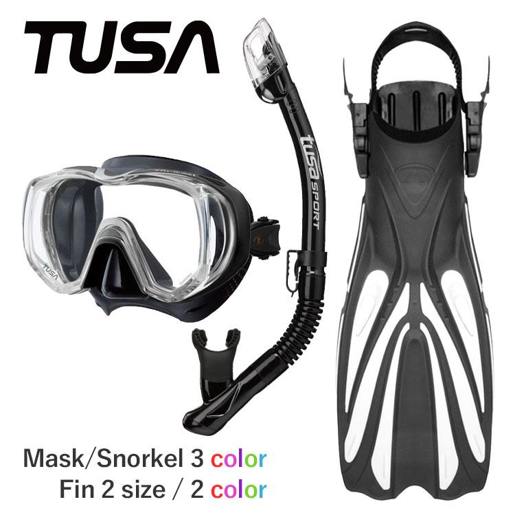 TUSA ツサ ダイビング マスク 付 スキューバダイビング 軽器材 セット シュノーケル フィン ブーツ 軽器材セット 【m3001-kamalo2+-alakaiSP-gripboot】