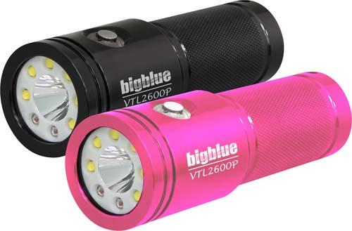 bigblue (ビッグブルー) VTL-2600P ダイビング用水中LEDライト 最大2600ルーメン 拡散 スポット 赤色 プッシュ式スイッチ 照射角:100度 10度 リチウムイオン電池 PINKピンク