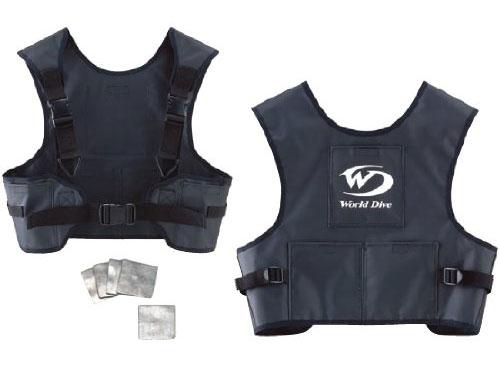 【あす楽対応】World Dive ドライスーツ専用ウエイトベスト ver.2 鉛板5枚セット(ワールドダイブ ウェイトベストセット)