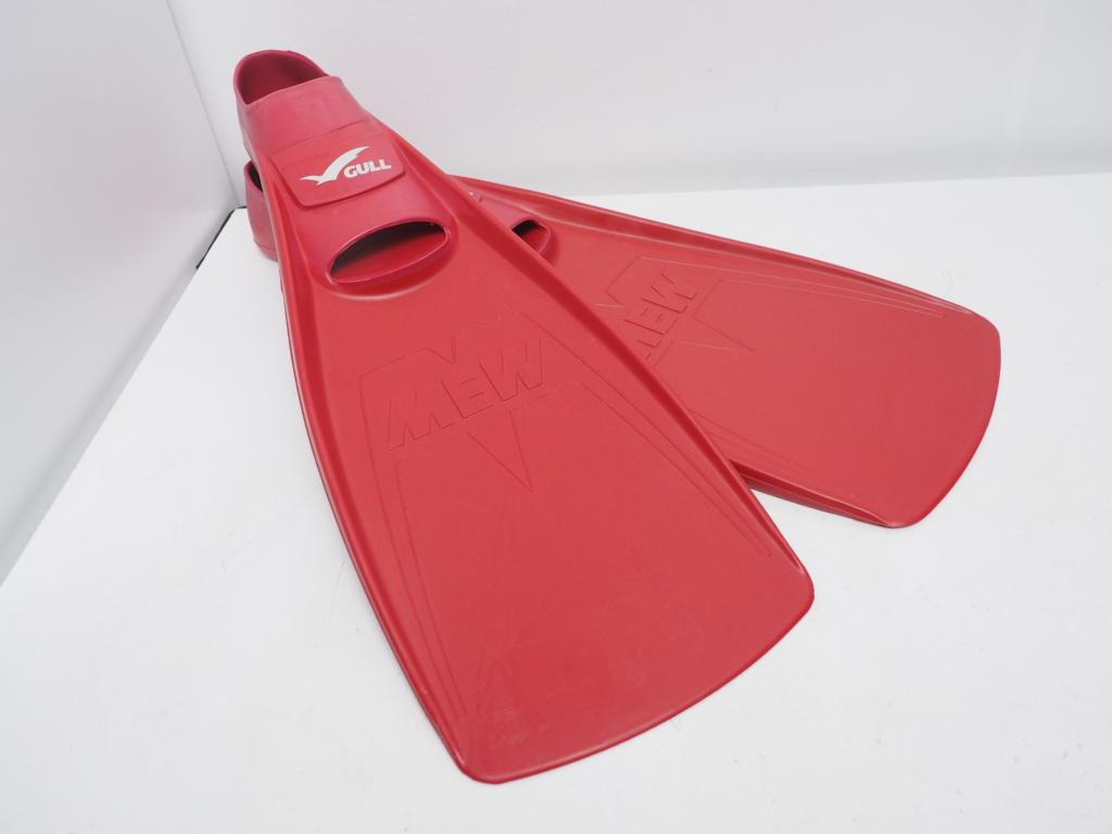 新品 GULL ガル MEW ミュー フルフット ラバーフィン サンレッド サイズ:S(23-24cm) [38667]
