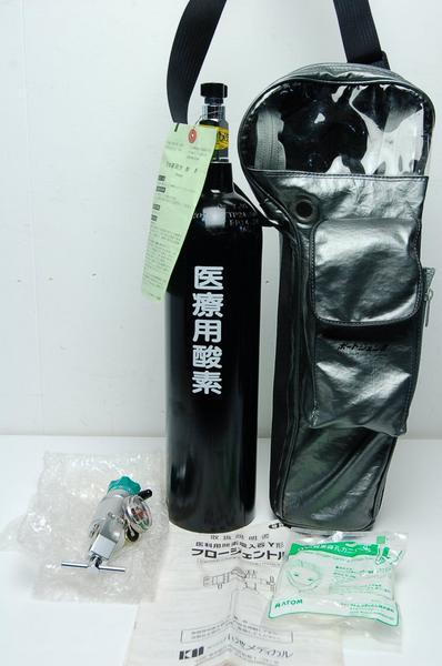未使用 医療用酸素ボンベ 2Lタンク レギュレターセット 【5374】