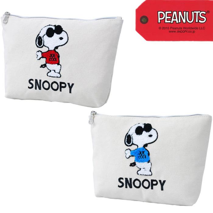 SNOOPY Snoopy JOE COOL canvas boat-shaped pouch clutch bag Womens mens  unisex travel cosmetics PEANUTS comic WOODSTOCK ladies men kids junior  casual