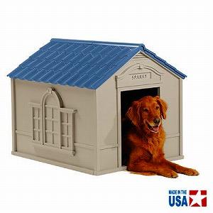 ブルーの屋根が爽やかなドッグハウスです 空気の循環ができる通気口付き 犬小屋 大型犬用 ドッグハウス DH350 誕生日/お祝い ※北海道+700円 TOSHO サンキャスト 大幅値下げランキング