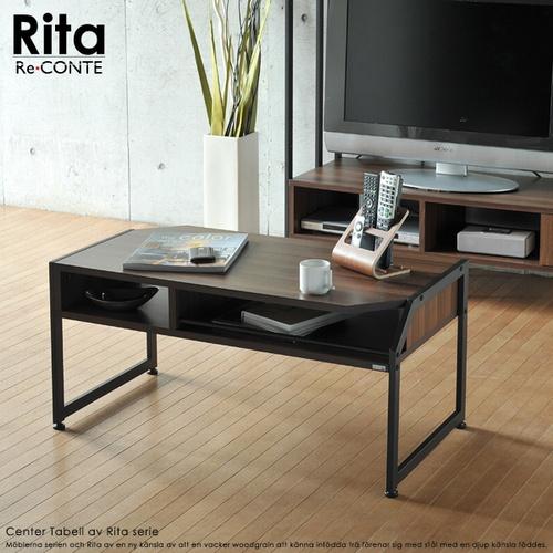【送料無料】 センターテーブル テーブル ブラック 木目調 北欧風 (RT-007-BK) Re・conte Rita
