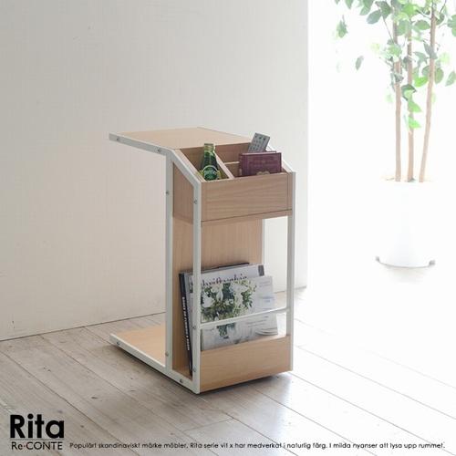 【送料無料】【代引不可】 サイドテーブル 木目調 Re・conte Rita series Sofa Side Table ホワイト (DRT-0008-WH)