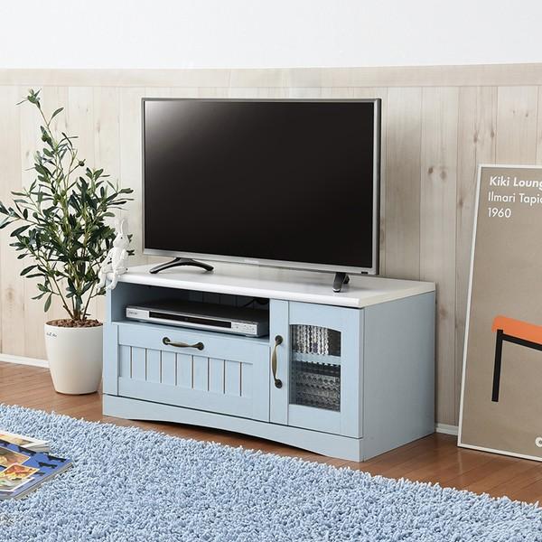 【送料無料】テレビ台 テレビボード フレンチカントリー家具 テレビ台 幅80 ブルー (FFC-0001-BL) Azur