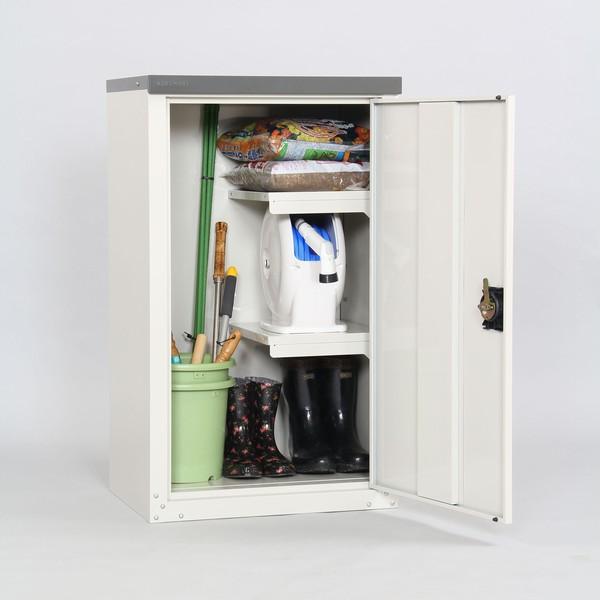 【送料無料】収納庫 扉式 幅60cm 高さ102cm TBJ-102HT 物置 家庭用 ハーフ棚 ※代引不可
