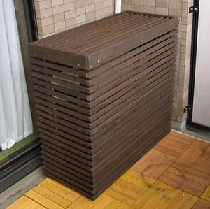 エアコン室外機カバー 木製 ボーダー ダークブラウン MAC-935BS ※北海道+2200円