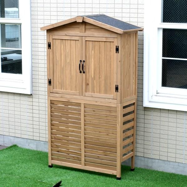室外機カバー 三角屋根収納庫付き ライトブラウン KGR-AC178LBR 木製 エアコンカバー ※北海道+2200円